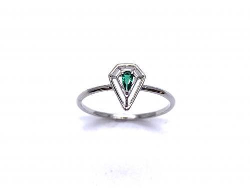 Silver Dark Green CZ Solitaire Kite Design Ring I