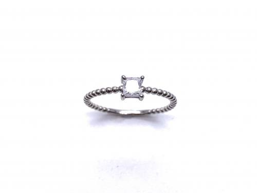 Silver White CZ Square Cut Solitaire Ring N