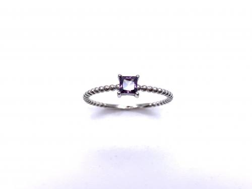 Silver Purple CZ Square Cut Solitaire Ring L