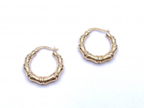 9ct Yellow Gold Bamboo Hoop Earrings