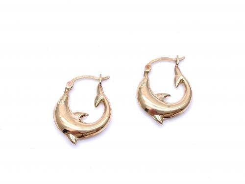 9ct Yellow Gold Dolphin Hoop Earrings