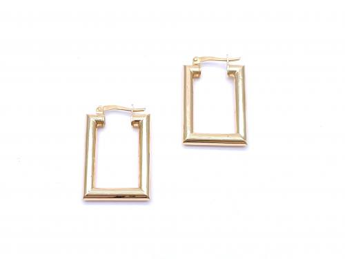 9ct Rectangular Hoop Earrings