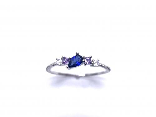 Silver Blue,Pink & White CZ Fancy Ring Q