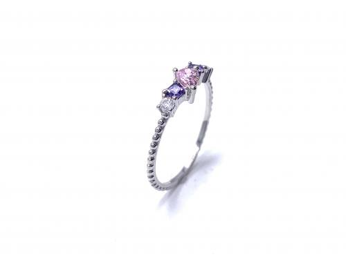 Silver Pink,Purple & White CZ Fancy Ring P
