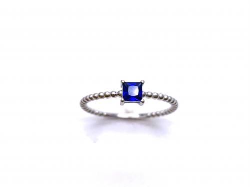 Silver Dark Blue CZ Square Cut Solitaire Ring X