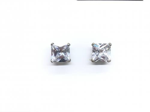 9ct White Gold Square CZ Stud Earrings 8mm