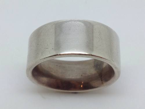 Silver Flat Court Wedding Ring 9.5mm Size P