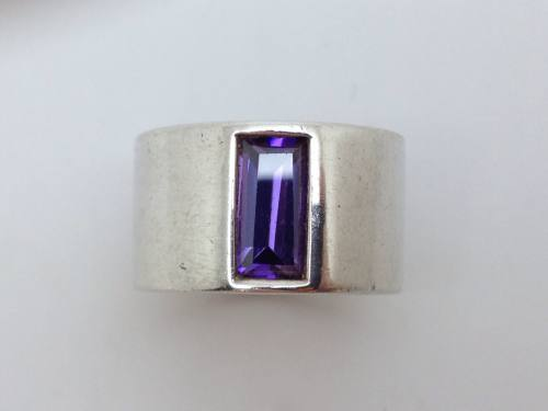 Silver Purple Cz Ring