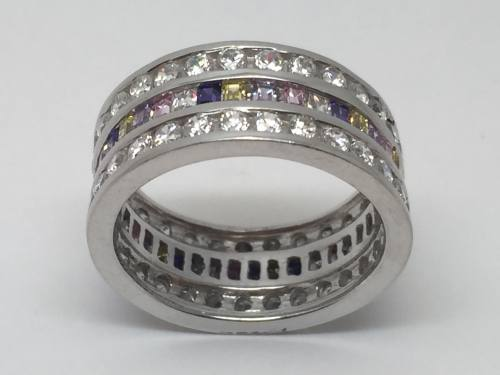 Silver Multi Cz Full Eternity Ring