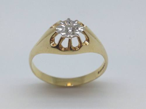 9ct Yellow Gold Diamond Solitaite Ring