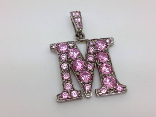 Silver Cz Initial M