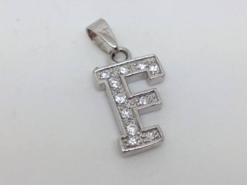 Silver Cz Initial F