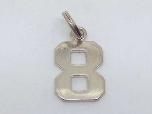 Silver Number 8 Charm