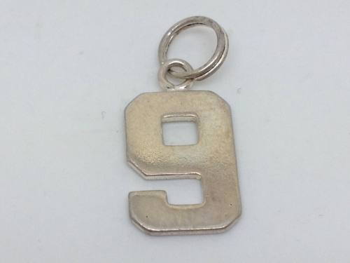 Silver Number 9 Charm
