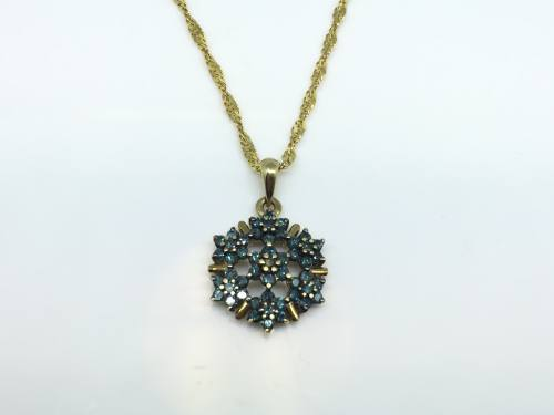 9ct Treated Diamond Pendant and Chain