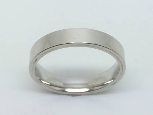 Silver Flat Court Wedding Ring 4mm V