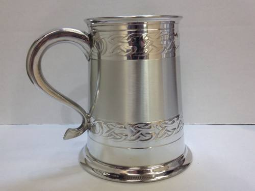 Harvey Makin 1 pint Pewter Tankard with Celtic Ban