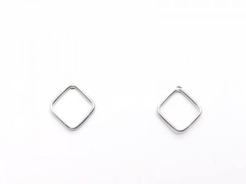 Silver Cut Out Square Stud Earrings