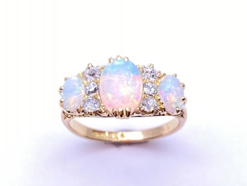 An Old Opal and Diamond Ring
