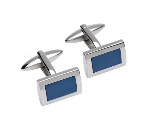 Stainless Steel Cufflinks With Blue IP Plating