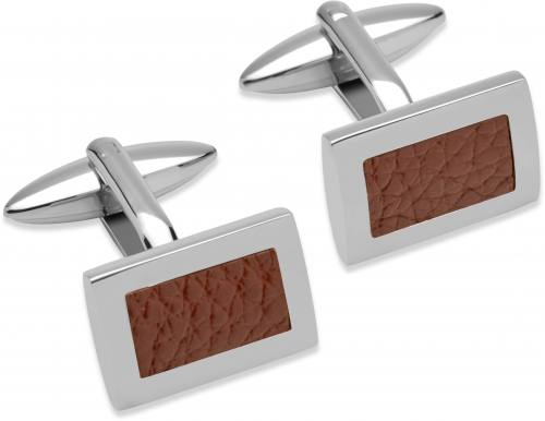 Stainless Steel Cufflinks With Brown Leather Inlay
