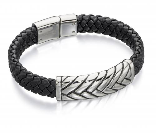 Stainless Steel Black Leather Bracelet 21.5cm