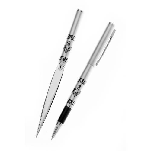 Letter Opener And Pen Set Masonic Matt Chrome