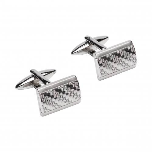 Stainless Steel Cufflinks With Woven Pattern