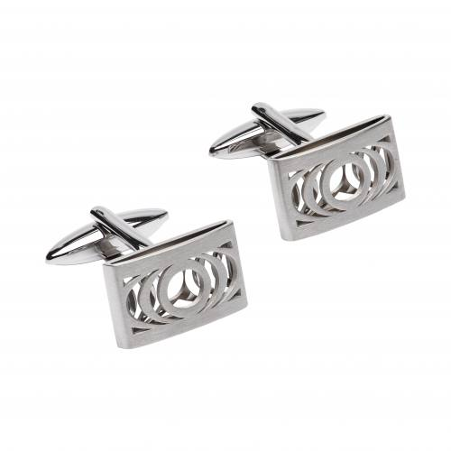 Stainless Steel Cufflinks With Cut Out Pattern