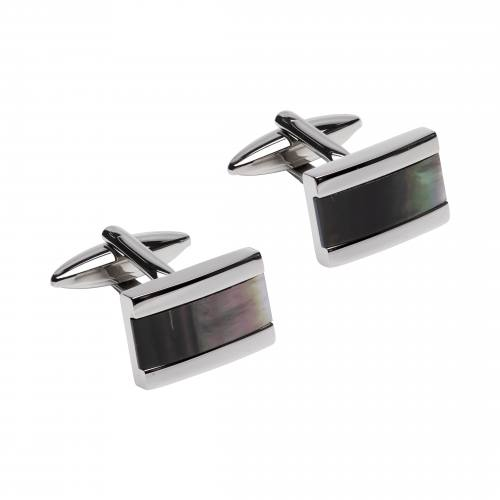 Stainless Steel Cufflinks With Black MOP Inlay