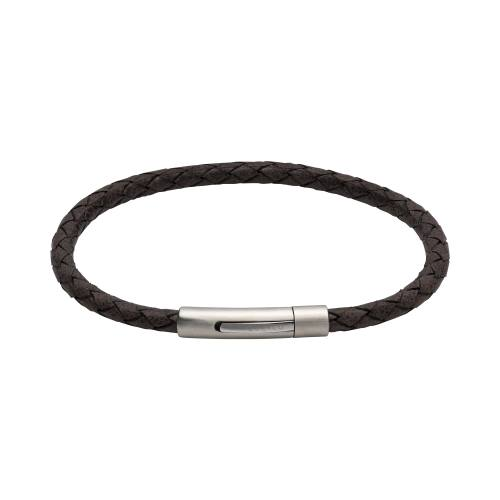 Moro Leather Bracelet With Steel Clasp 19cm