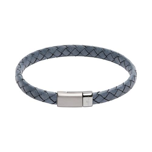 Blue Leather Bracelet With Matte Steel Clasp 21cm