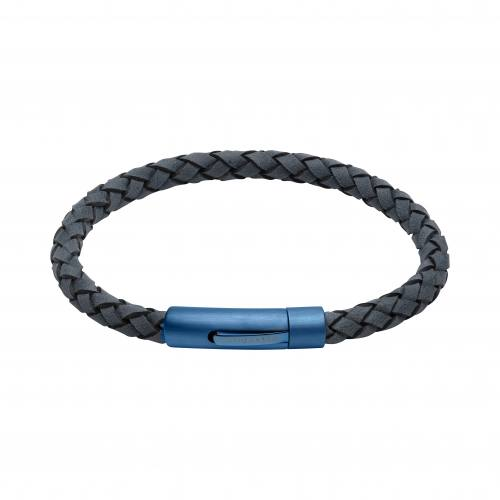 Blue Leather Bracelet With Matt Blue Steel Clasp