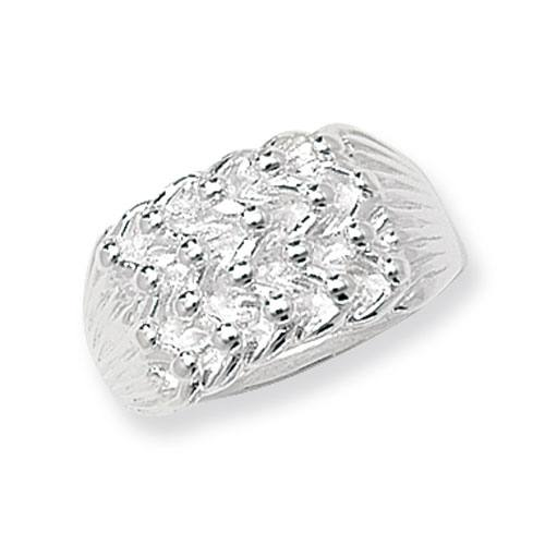 Silver Gents 4 Row Keeper Ring