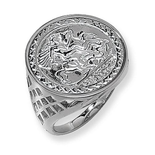 Silver St George Coin Ring