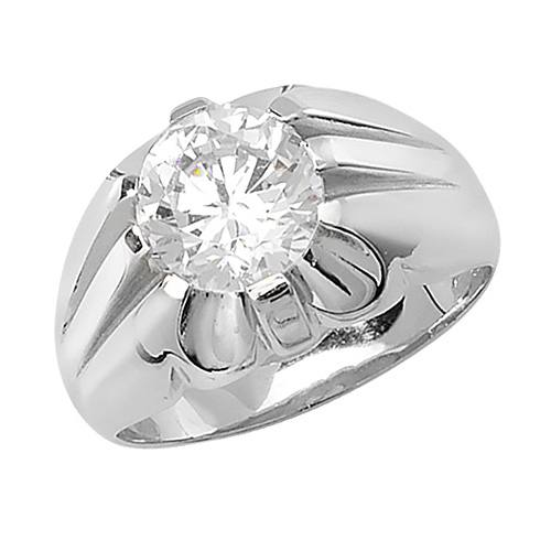 Silver Gents CZ Solitaire Ring