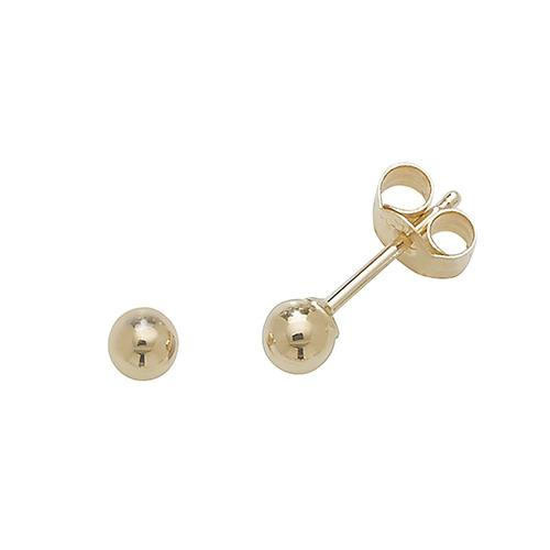 9ct Yellow Gold Ball Stud Earring 3mm