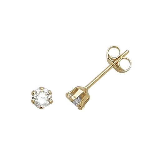 9ct Yellow Gold CZ Stud Earring 3mm