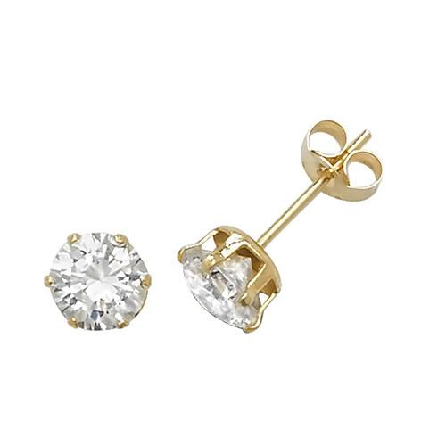 9ct Yellow Gold CZ Stud Earring 5mm
