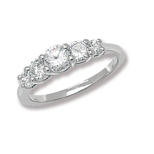 Silver Ladies CZ 5 Stone Ring