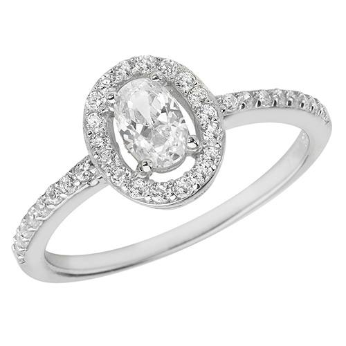 Silver Ladies CZ Halo Cluster Ring