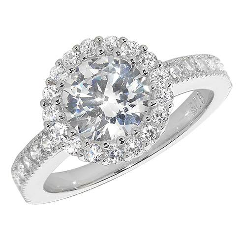 Silver Ladies CZ Cluster Ring