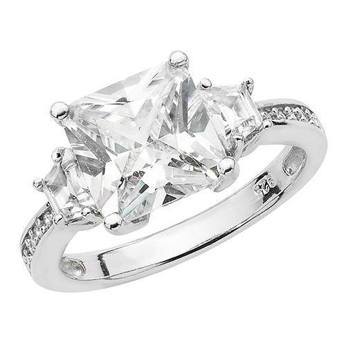 Silver Ladies CZ 3 Stone Ring