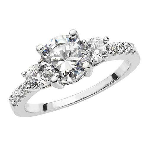 Silver Ladies CZ Cluster 3 Stone Ring