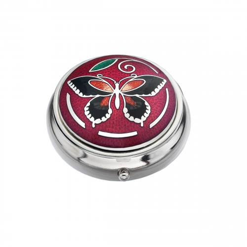 Pillbox Red With Butterfly Single Compartment