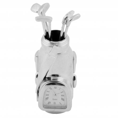 Miniature Clock - Golf Bag Shiny Silver