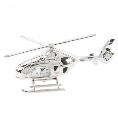 Miniature Clock - Silver Helicopter