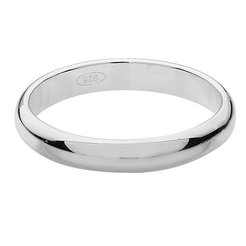 Silver D Shaped Wedding Ring 3mm J