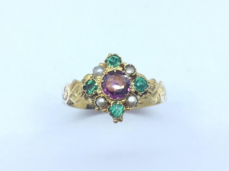 antique 12ct garnet emerald pearl ring at segal s jewellers
