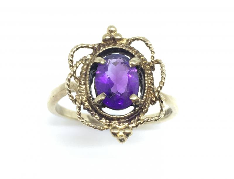 Secondhand 9ct Yellow Gold Amethyst Dress Rng At Segalu0026#39;s Jewellers